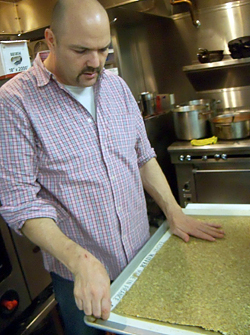 James Ormsby making gluten-free flax crackers