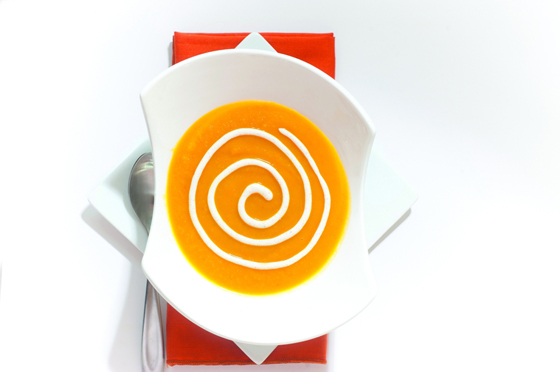 Carrot Soup with Garam Masala Cream. Photo: Paulette Phlipot