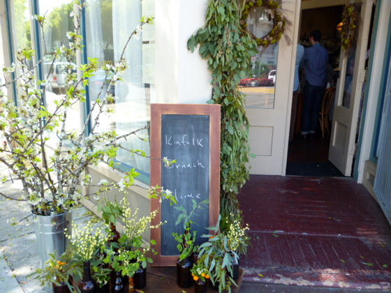 doorway to Kinfolk magazine brunch at Heirloom Cafe