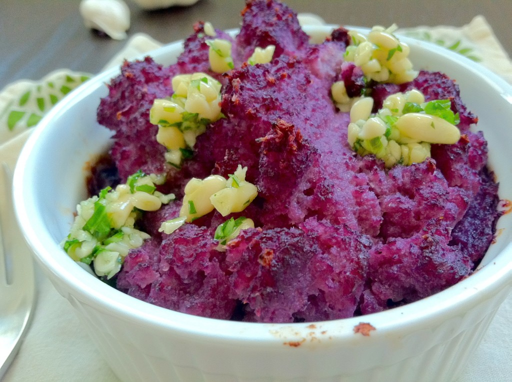 Purple Cauliflower Mashed Potatoes with Pesto