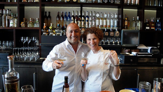 Joanne Weir  with Fernando Guzman, the general manager and tequila curator behind the bar at Copita.
