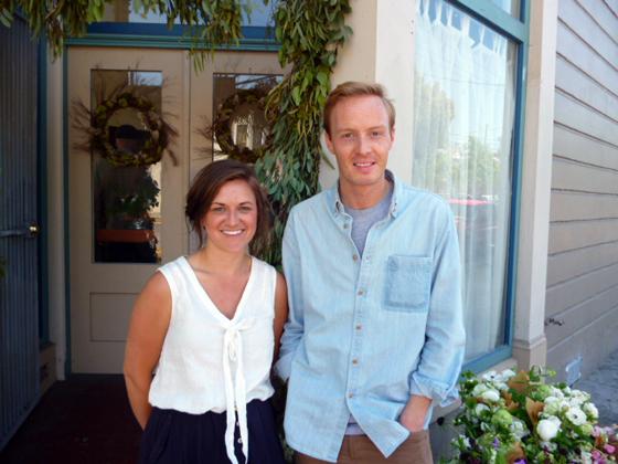 Julie Pointer and Nate Williams in front of Heirloom Cafe for Kinfolk Magazine brunch