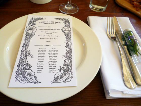 Kinfolk brunch menu on plate at Heirloom Cafe