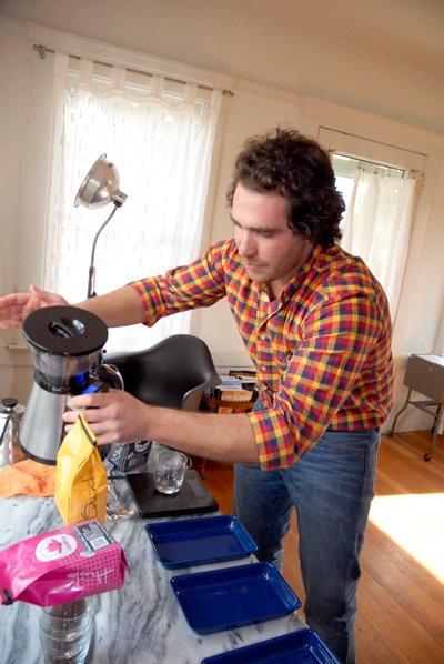 Keith uses burr grinder