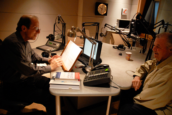 Michael Krasny interviews Jacques Pépin on Forum. Photo: Wendy Goodfriend