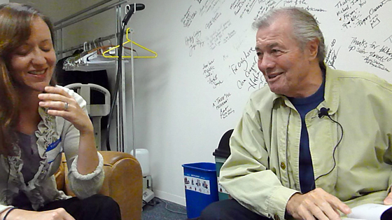 Stephanie Lucianovic interviews Jacques Pépin in the KQED Green Room. Photo by Wendy Goodfriend