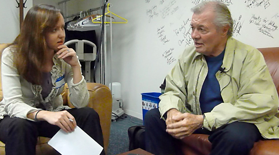 Stephanie Lucianovic interviews Jacques Pepin in the KQED Green Room. Photo by Wendy Goodfriend