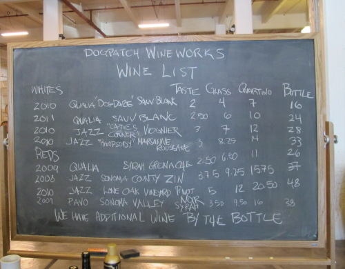 Wine Menu at Dogpatch WineWorks