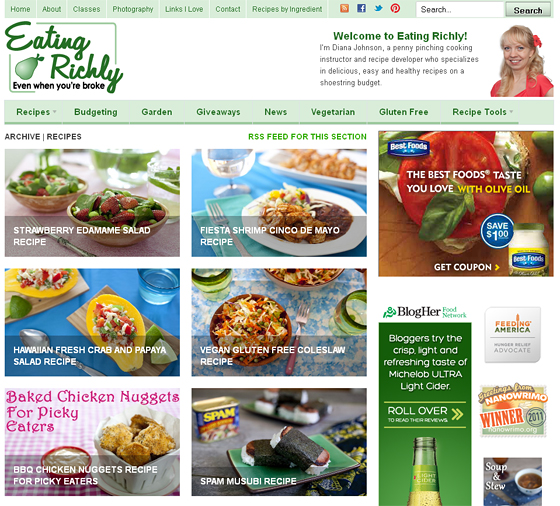eating richly recipe page screenshot