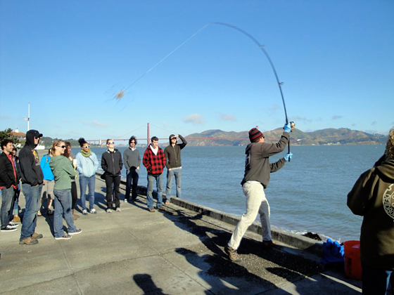 Kirk Lombard demonstrates the cast at his Saturday morning Coastal Fishing/Foraging Tour.