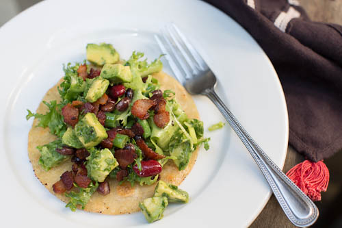 bacon, bean, avocado tostada