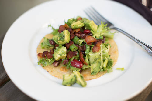 Smoky Bean, Bacon and California Avocado Tostadas
