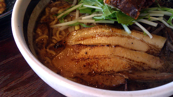 Ramen Parlor Spicy Pork with Soft Shell Crab and Black Garlic