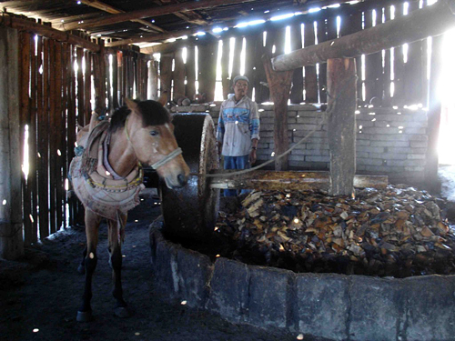 A tahona, the horse powered stone mill used to crush roasted agave into a pulp before it's fermented and distilled into mezcal.  Photo: Susan Coss
