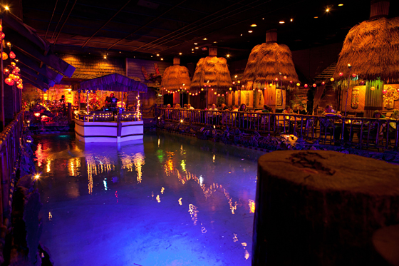 The floating boat on the lagoon in the Tonga Room and Hurricane Bar. Photo: Marla Aufmuth