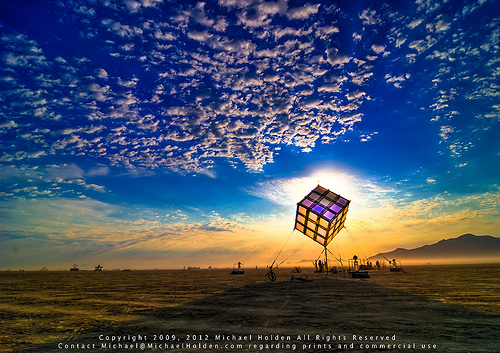 Groovik's Cube, Sunrise, Burning Man 2009. Photo Credit: Michael Holden