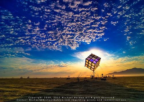 Groovik's Cube, Sunrise, Burning Man 2009. Photo Credit: Michael Holden