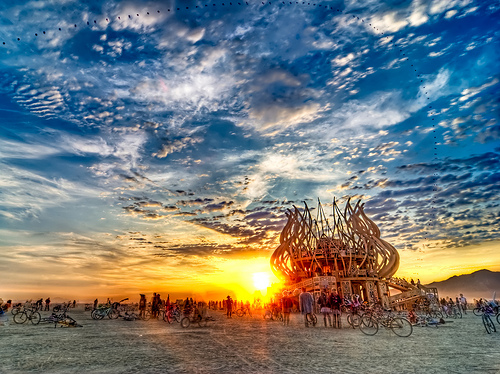 Sunrise at The Temple, Burning Man 2009. Photo Credit: Michael Holden
