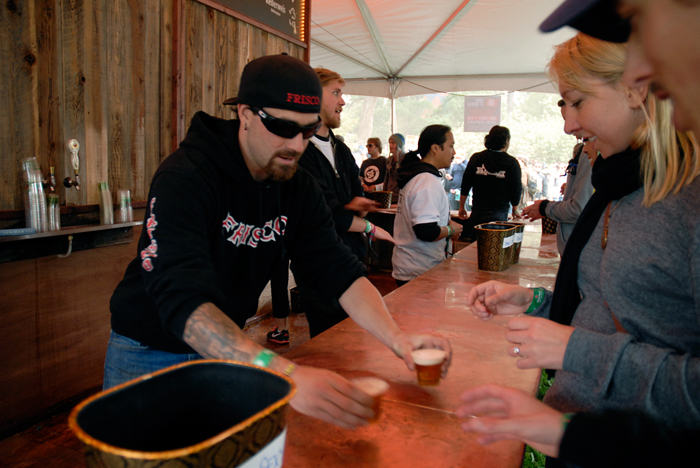 Serving up beer at Beer Lands. Photo: Wendy Goodfriend