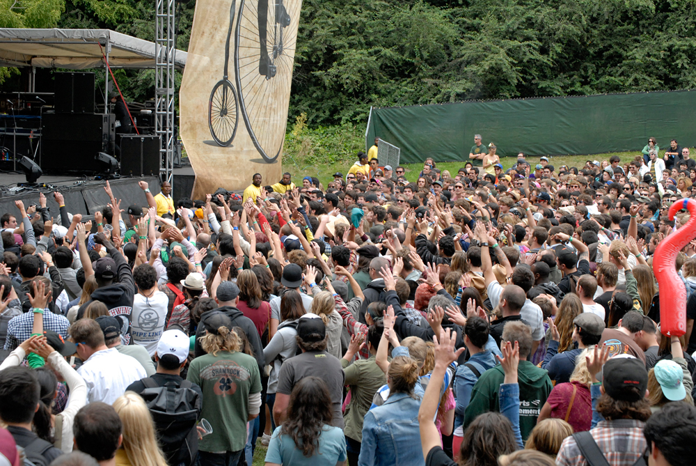The crowd dancing to Reggie Watts at Outside Lands 2012. Photo: Wendy Goodfriend.