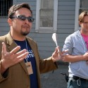 District 9 supervisor David Campos and Caleb Zigas- address media on SF Street Food tour. Photo: Wendy Goodfriend