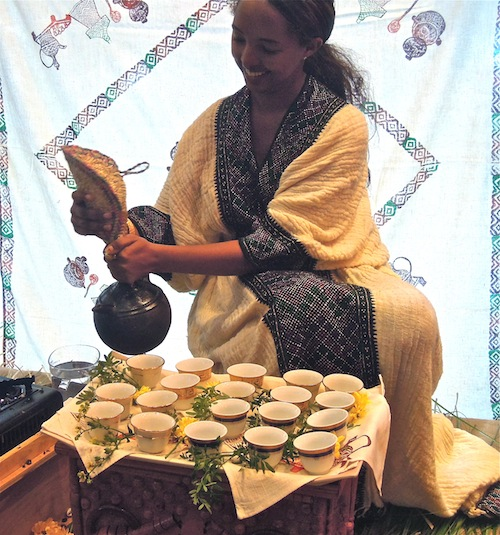 Hiwot Tadesse makes coffee