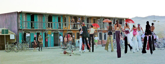 Stilt walkers approaching Black Rock French Quarter at Burning Man 2011. Photo: Kristen Lanum