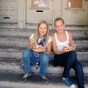 Girls eating Funnel Cake from Endless Summer Sweets. Photo: Wendy Goodfriend