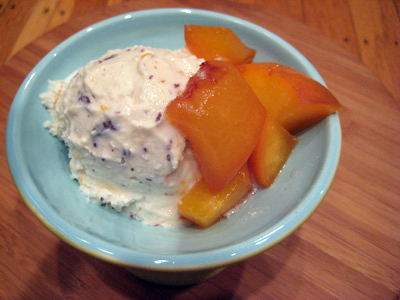 Ricotta Ice Cream with Peaches in Muscat