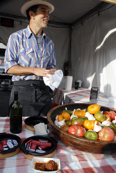 Charlie Hallowell of Pizzaiolo serving meatballs at Eat Real Fest Me