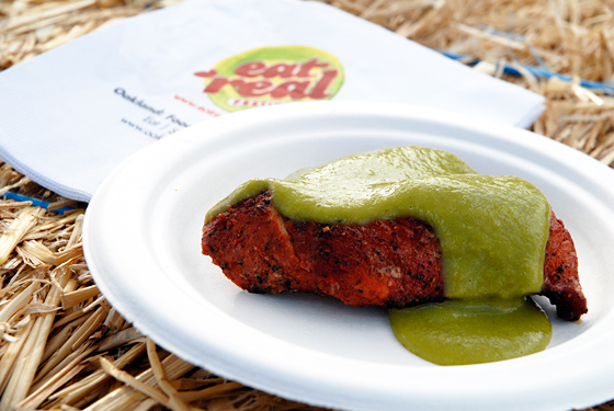 Bocanova pork with tomatillo sauce. Photo: Wendy Goodfriend