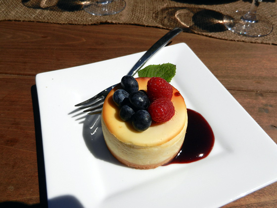 cheesecake with seasonal fruit