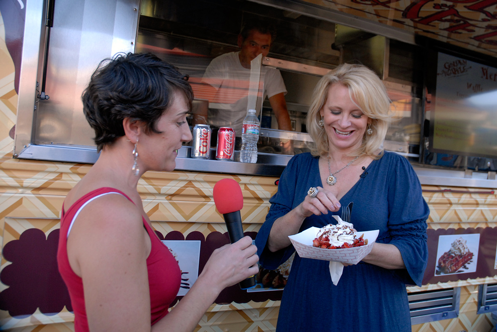 Leslie Sbrocco trying some Golden Waffles at SoMa StrEat Food Park KQED event
