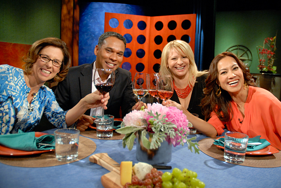 Guests and host Leslie Sbrocco taping episode 712 of Check, Please! Bay Area at KQED. Photo: Wendy Goodfriend