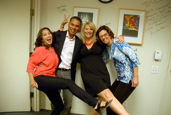 Guests and host Leslie Sbrocco in greenroom after taping episode 712 of Check, Please! Bay Area at KQED.