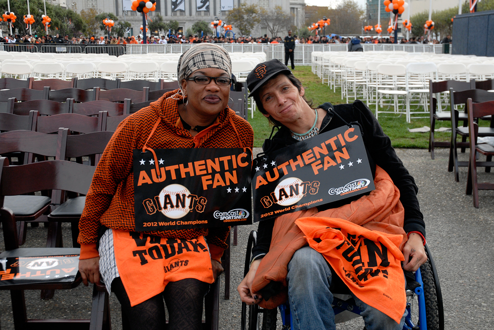 Two Giants fans at World Series Celebration. Photo: Wendy Goodfriend