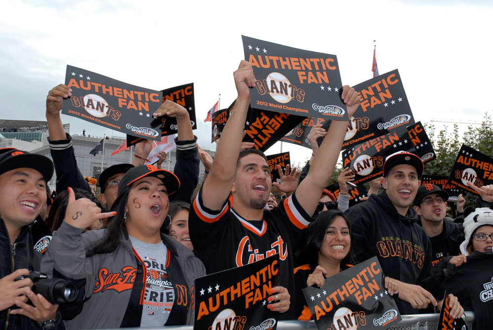 Authentic SF Giants fans. Photo: Wendy Goodfriend