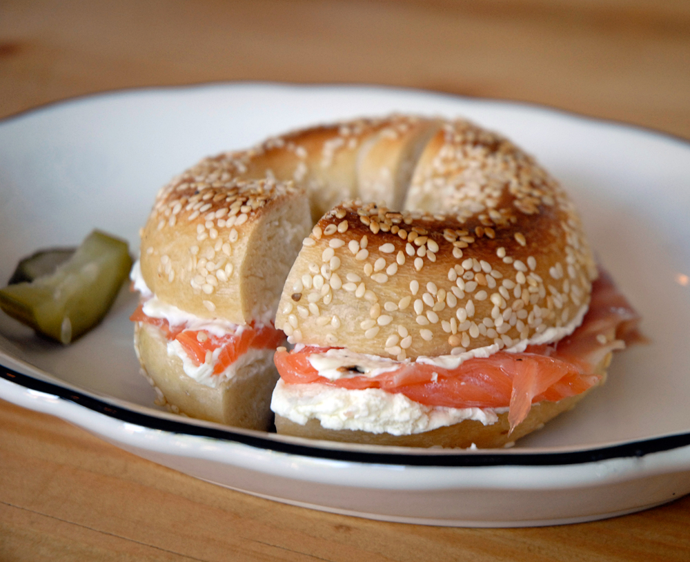 Sesame bagel with Scottish-salmon lox, cream cheese, onions, capers and housemade pickles