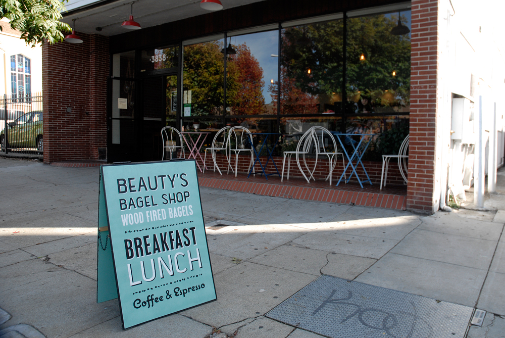 Beauty's Bagels exterior with sign