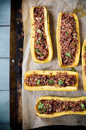 Delicata Boats with Red Rice Stuffing. Photo: Clare Barboza