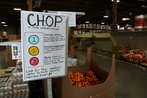 The CHOP system is a quick reference for food pantry members choosing products for their clients. Photo: Courtesy ACCFB