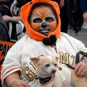 Panda fan with dog at SF Giants Celebration. Photo: Wendy Goodfriend