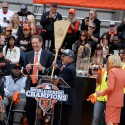 Larry Baer, Giants President and CEO receives the key and the broom to the city from SF Mayor Ed Lee. Photo: Wendy Goodfriend