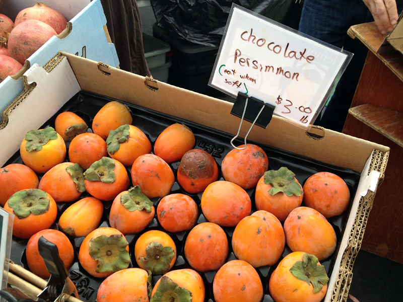 Chocolate persimmons from Temescal Farmers market. Photo: Wendy Goodfriend