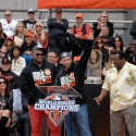 Pablo Sandoval, World Series MVP and Marco Scutaro, League Championship Series MVP. Photo: Wendy Goodfriend