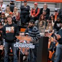 Sergio Romo speaks at the SF Giants Celebration. Photo: Wendy Goodfriend