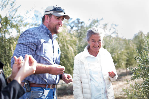 Adam Englehardt and Patricia Unterman tasting olives