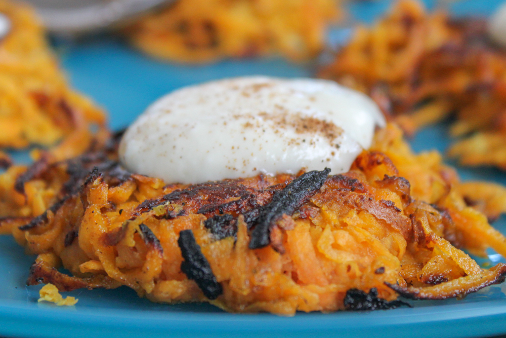 Curried Sweet Potato Latkes with Maple Yogurt