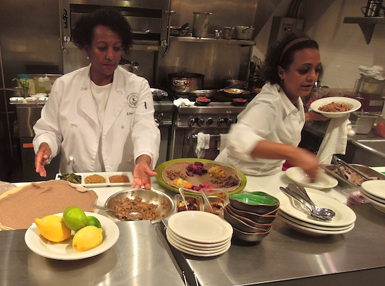 Selome Haileleoul and sous chef Showit Woldu in Guest Chef's open kitchen