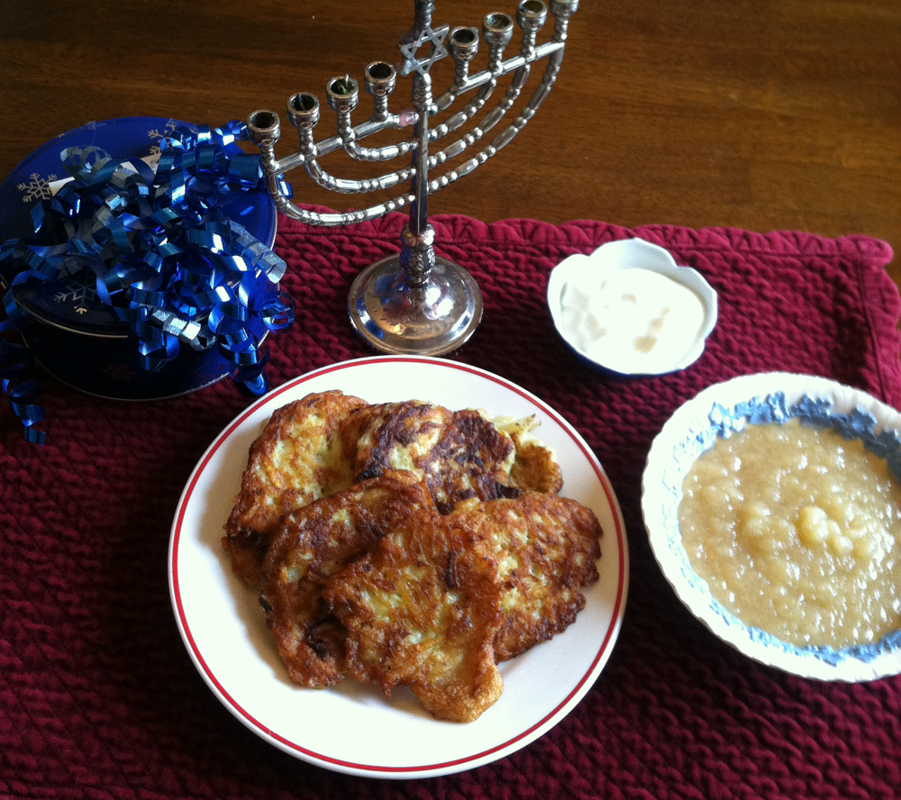 Gluten-Free Latkes with Apple Sauce and Sour Cream for Hanukkah
